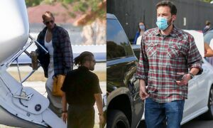 Jennifer Lopez wears what appears to be Ben Affleck's shirt during an outing